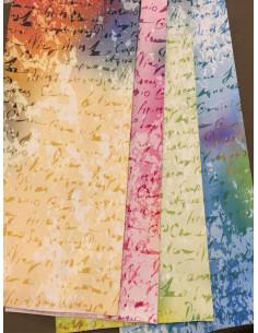 Плътна завеса с надписи в  жълто, цикламено, синьо и бежово-1