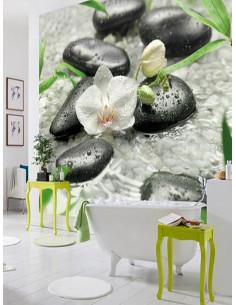 Фототапет за стена с орхидея и спа камъни във вода-1