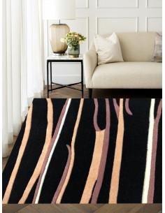Черен плътен релефен килим с лилави и кремави линии-1