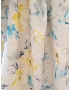 Плат за завеса със сини и жълти цветя-1