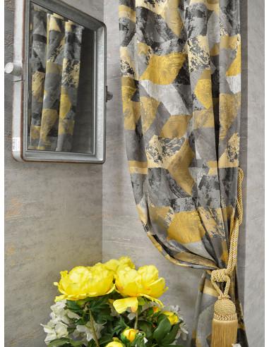 Плат за завеса на сиви и златни ромбове-1
