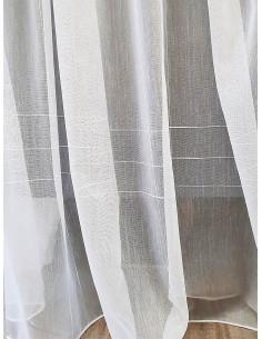 Плат за тънко перде с вертикални и хоризонтални чертички в екрю-1