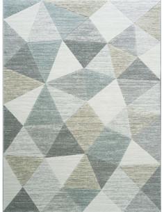 Килим с триъгълници и ромбове в сиво, зелено и бежово 160x230см.-1