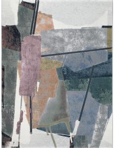 Абстрактен килим в зелено, сиво, синьо, лилаво и кремаво 160x230см.-1