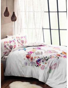 Семеен спален комплект TAC Ranforce Melissa в бяло с цветен принт-1