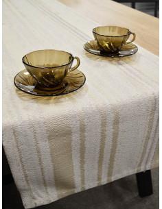 Тишлайфер за маса в бежови и кремави райета 40x192см.-1