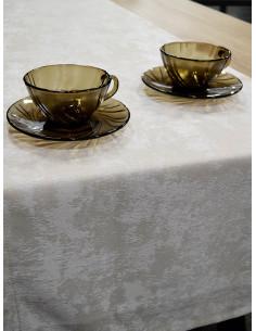 Тишлайфер за маса в кремав нюанс с десен на седефени петна 39x190см.-1