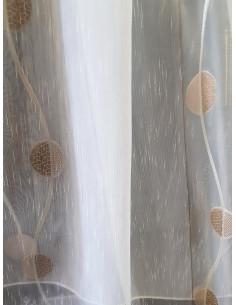 Органза в слонова кост със светло кафяви кръгове-1