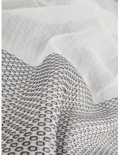 Полупрозрен плат за перде в бяло и сиво-1