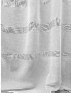 Готови тънки пердета в бял цвят с хоризонтална шарка 6x2.50м.-1