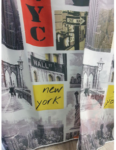 Готово детско перде Ню Йорк в жълто, червено и сиво 6x2.50м.-1