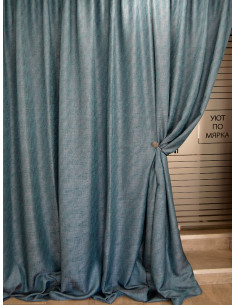 Меланжиран текстил за плътна завеса в цвят тъмен тюркоаз-1