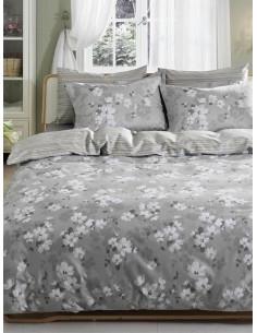Двоен спален комплект TAC SATEN DELUXE на сиви цветя-1